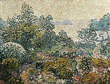Louis VALTAT 1869 - 1952 LE JARDIN D'AGAY AU SOLEIL COUCHANT - Circa 1902 Huile sur toile