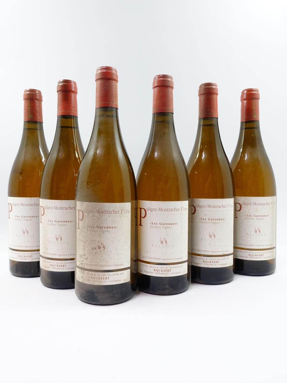 6 bouteilles PULIGNY MONTRACHET 2005 1er cru Les Garennes