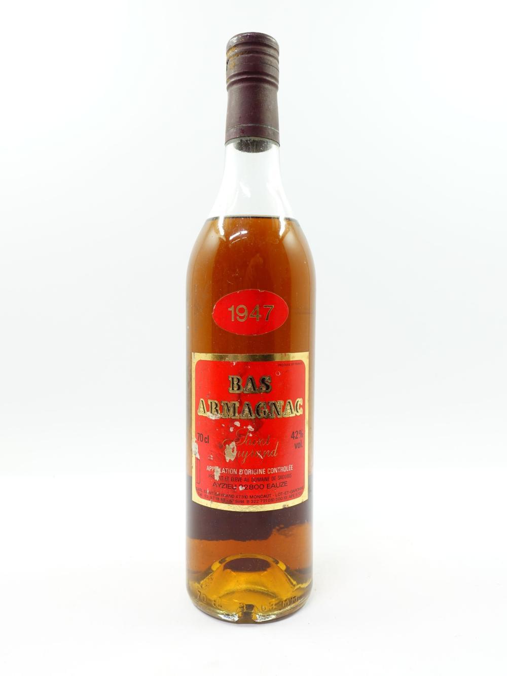 1 bouteille BAS ARMAGNAC SAINT GAYRAND 1947 (4