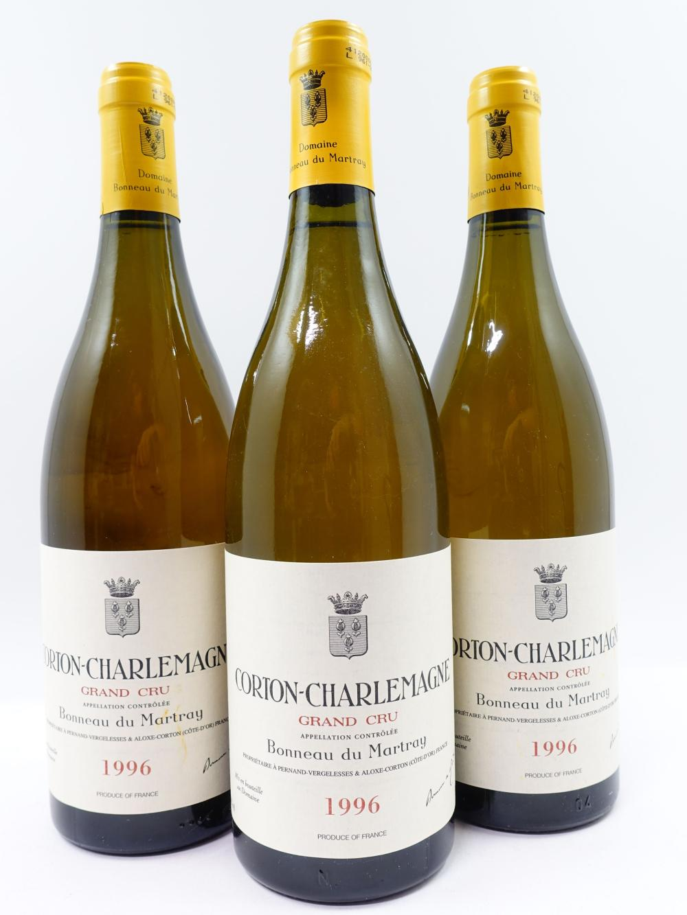 3 bouteilles CORTON CHARLEMAGNE 1996 Grand Cru