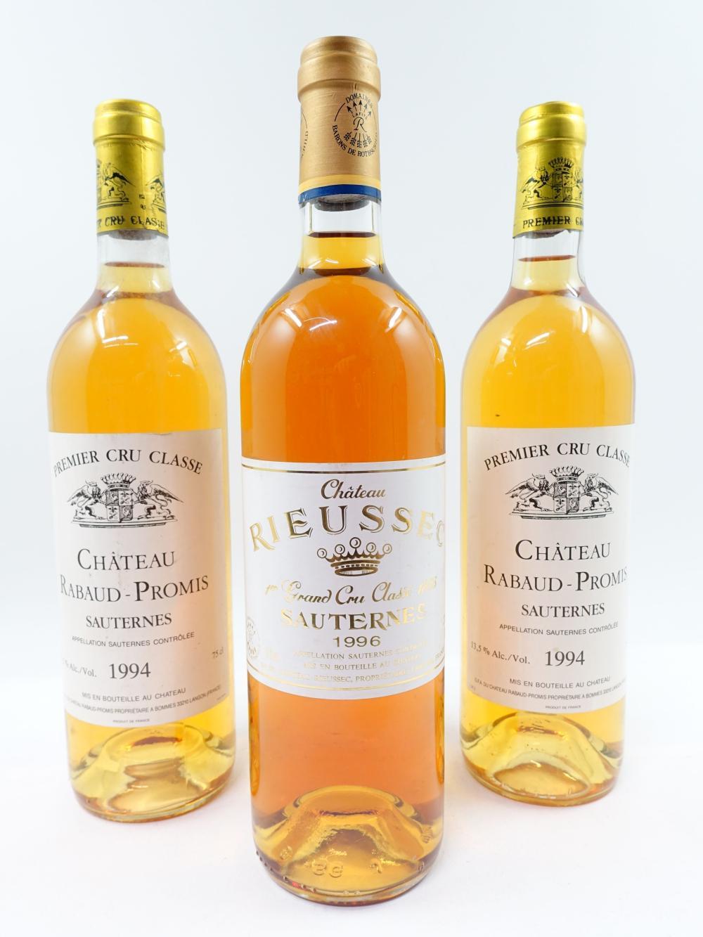 3 bouteilles 2 bts : CHÂTEAU RABAUD PROMIS 1994 Sauternes (1 étiquette léger tachée)