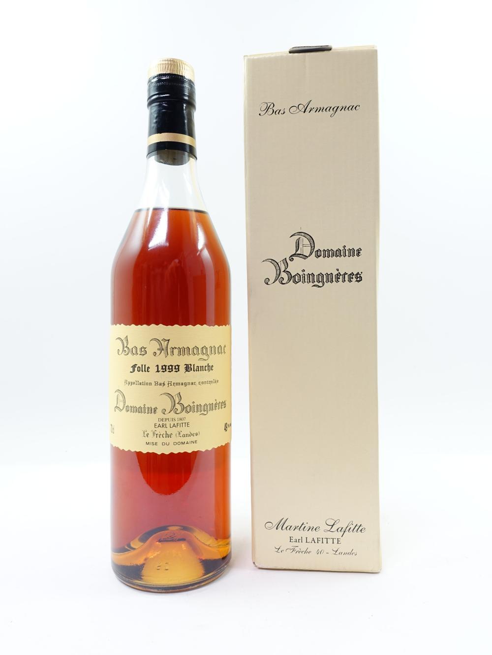 1 bouteille BAS ARMAGNAC BOINGNERES 1999 Folle Blanche (70cl, 49°, étui d'origine) Martine Lafitte