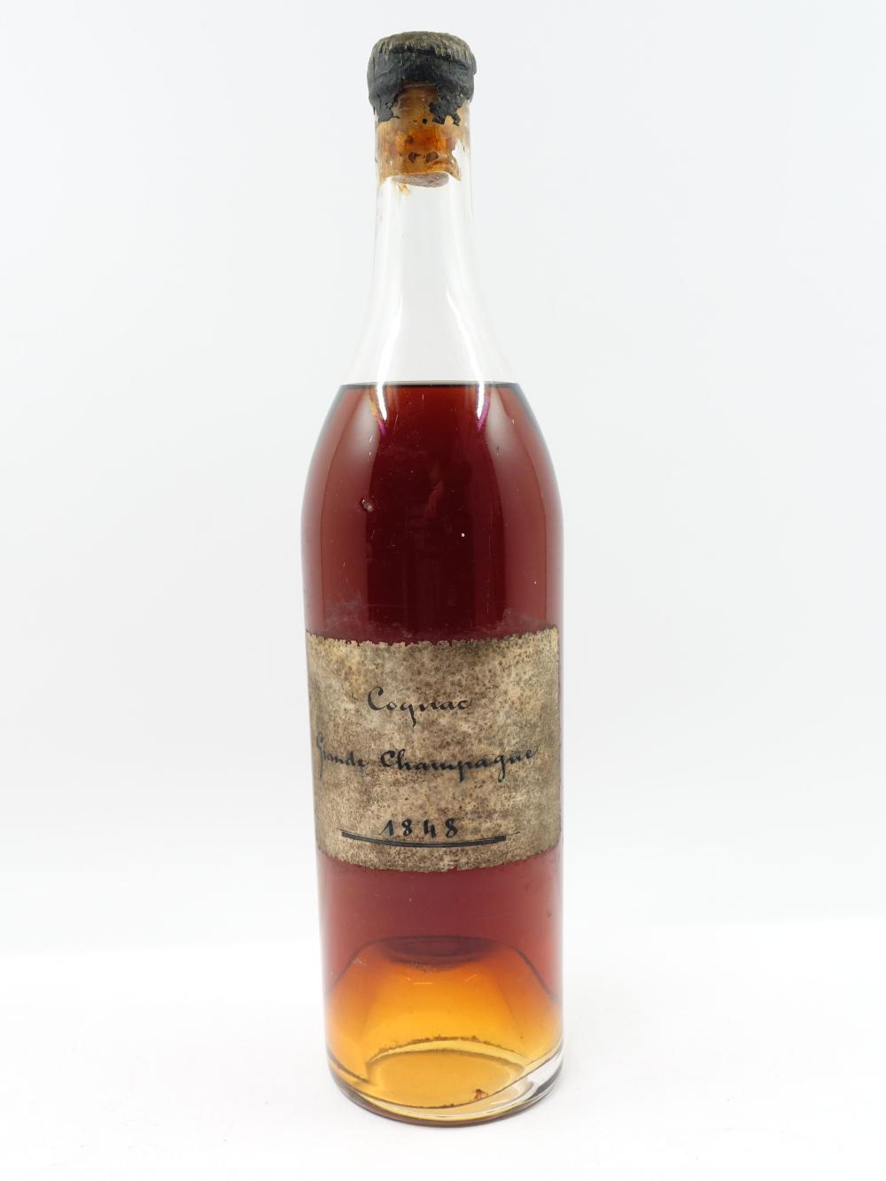 1 bouteille COGNAC GRANDE CHAMPAGNE 1848 (6 cm, étiquette abimée. Capsule cire abimée)