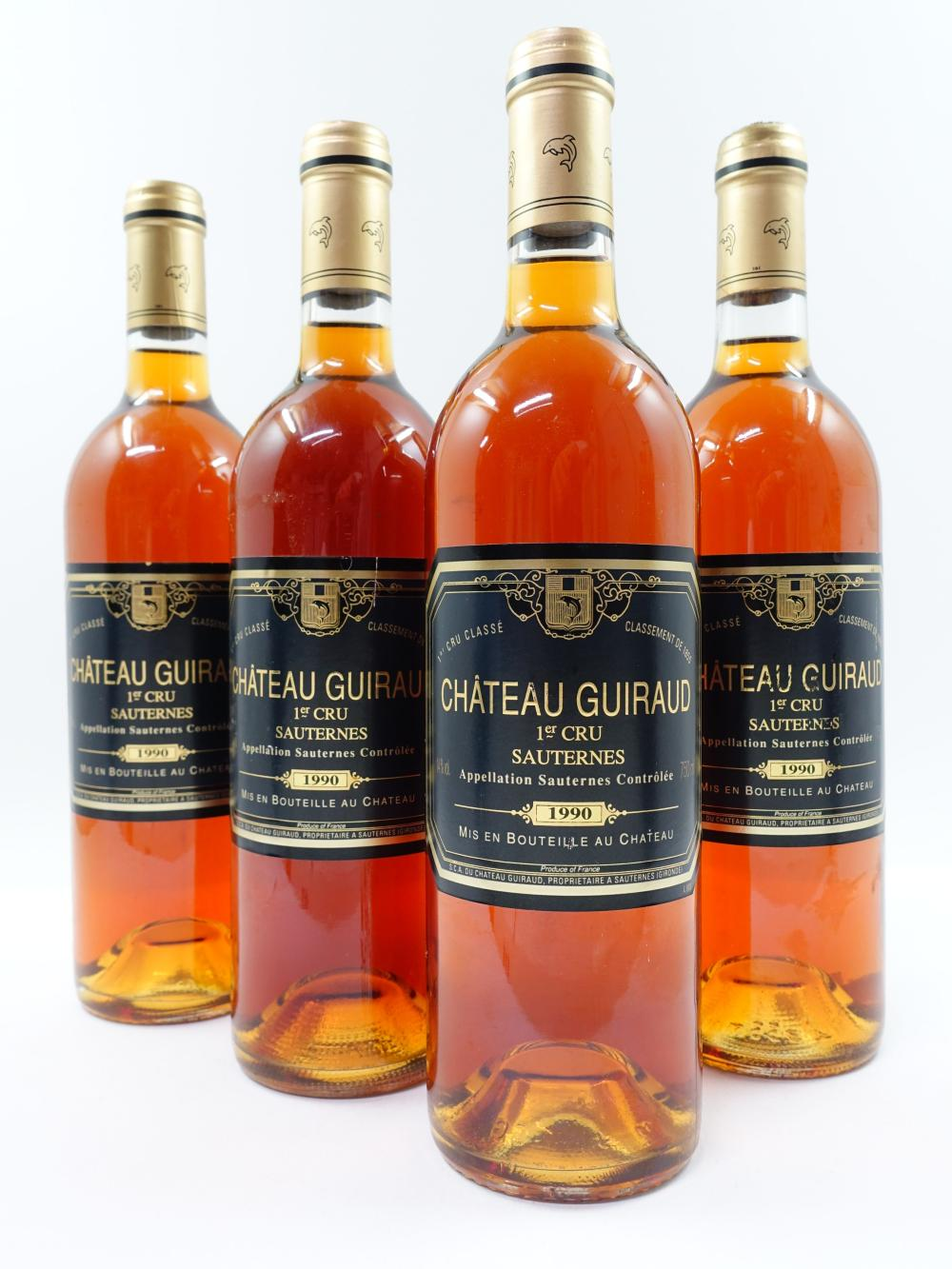4 bouteilles CHÂTEAU GUIRAUD 1990 1er cru Sauternes