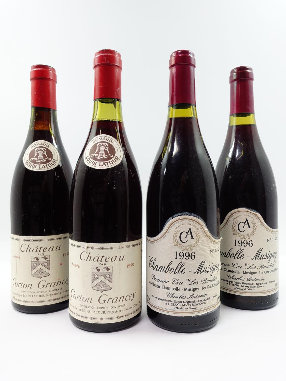 4 bouteilles 2 bts : CORTON GRANCEY 1978 Grand Cru. Louis Latour (étiquettes fanées)