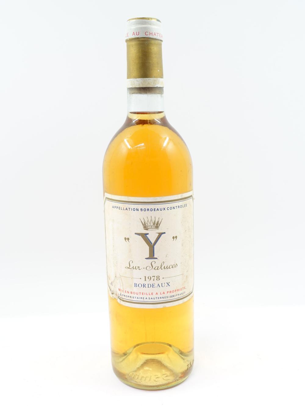 1 bouteille Y DE YQUEM 1978 Bordeaux Blanc sec (base goulot