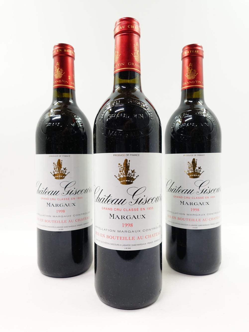 3 bouteilles CHÂTEAU GISCOURS 1998 3è GC Margaux