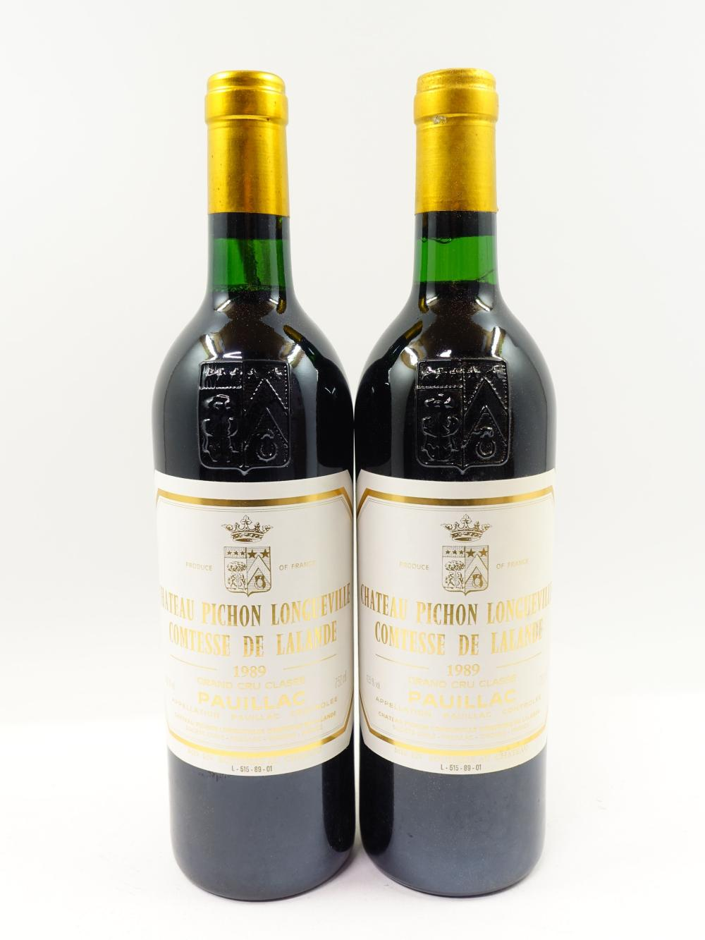 12 bouteilles CHÄTEAU PICHON COMTESSE DE LALANDE 1989 2è GC Pauillac (toutes base goulot) Caisse bois d'origine