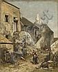 Louis-Adolphe Hervier Paris, 1818 - 1879 Rue de village animé Huile sur toile, Adolphe Hervier, Click for value
