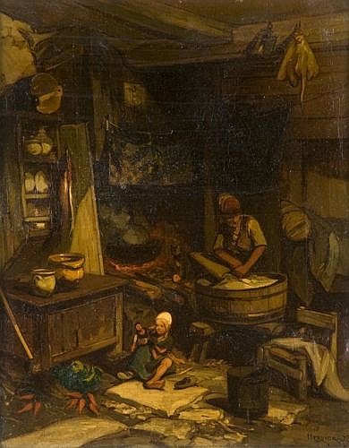 Louis-Adolphe Hervier Paris, 1818 - 1879 Intérieur avec une blanchisseuse Huile sur toile