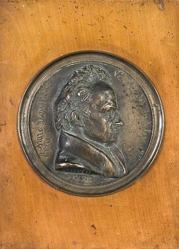 Pierre-Jean David, dit David d'Angers Angers, 1788 - Paris, 1856 Profil de Marc Isambart-Brunel Bronze à patine brune à reflets doré..