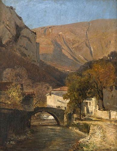 Jean-Alexis Achard Voreppe, 1807 - Grenoble, 1884 Le Pont de Sassenage Huile sur toile
