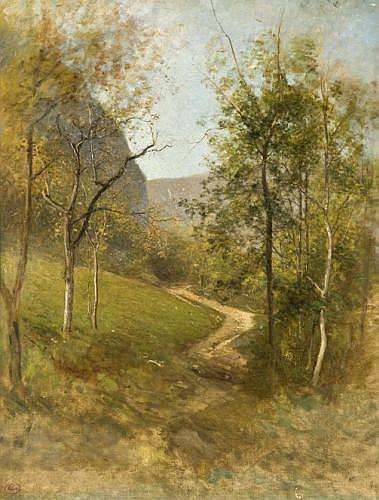 Jean-Alexis Achard Voreppe, 1807 - Grenoble, 1884 Le sentier de Sassenage, effet d'automne Huile sur toile,