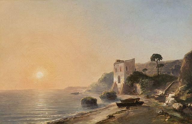 Auguste Aiguier Toulon, 1819 - Marseille, 1865 Soleil couchant sur un rivage provençal Huile sur toile