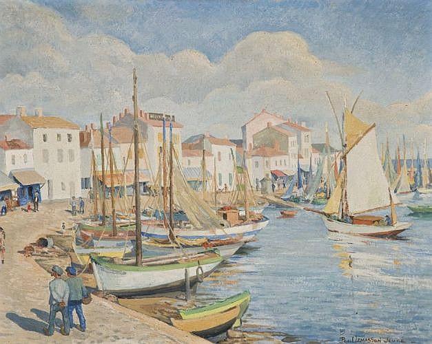 Paul Lemasson Saint-Mars-du-Désert, 1897 - Nantes, 1971 Vue d'un port méditerrannéen Huile sur panneau de contreplaqué