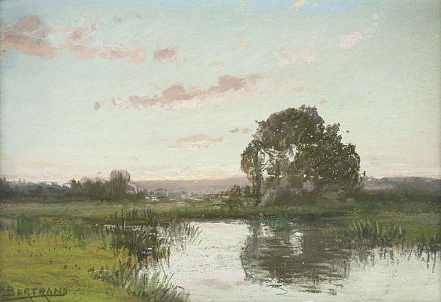 Paulin-André Bertrand Toulon, 1852 - La Garde, 1940 Paysage d'étang Pastel et crayon noir
