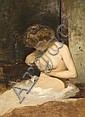 Attribué à Henri Gervex Paris, 1852 - 1929 Jeune femme à sa toilette Toile