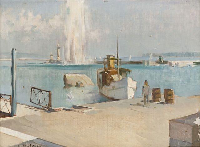 Henri Dufaux Chens, 1879 - Genève, 1980 Vues des quais du lac Léman, Genève Paire d'huiles sur toile