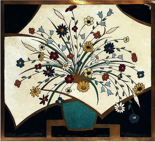 JEAN GOULDEN (1878-1946) Pot de fleurs fond blanc