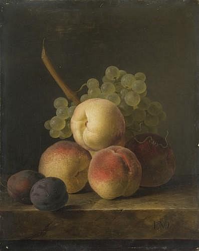 Jan Frans van Dael Anvers, 1764 - Paris, 1840 Nature morte aux pêches, prunes et grappe de raisin blanc sur un entablement de marbre...