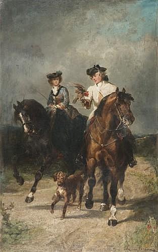 John Lewis Brown Bordeaux, 1829 - Paris, 1890 Couple à cheval chassant au faucon Huile sur toile, rentoilée
