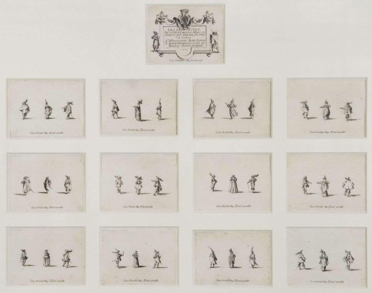Jacques Callot Nancy, 1592 - 1635 Les Fantaisies, suite incomplète de 13 planches (sur 14), 1633 Eau-forte,