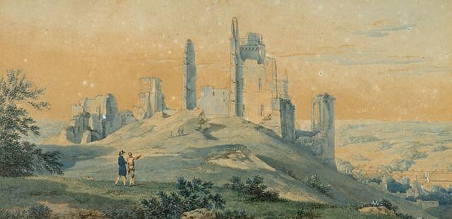 Pierre-Antoine Marchais (?), 1763 - Paris, 1859 Les ruines du château de Pierrefonds au début du XIXe siècle Aquarelle gouachée sur...