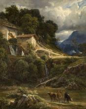 André Giroux Paris, 1801 - 1879 Trois vaches dans un paysage de montagne Huile sur toile