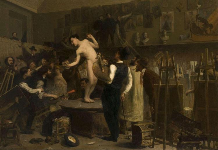 Jean-Louis Lefort Bordeaux, 1875 - (?), 1954 Vue présumée de l'atelier de Gérôme Huile sur toile