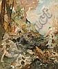 Fernand Cormon Paris, 1845 - 1924 Scène de chasse à courre perturbant le bain des nymphes Huile sur toile (Toile d'origine),