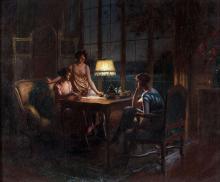 Delphin Enjolras Coucouron, 1857 - (?), 1945 Jeunes femmes jouant aux cartes Huile sur toile