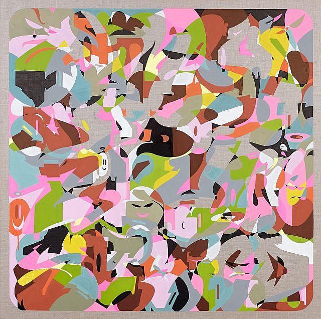 ZEKY (né en 1975) DO IT TIL YOURE SATISFIED, 2013 Acrylique et crayon sur toile