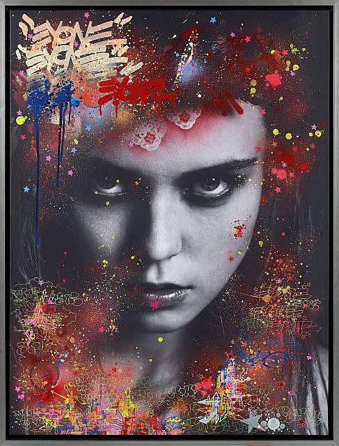 EYONE (né en 1976) SANS TITRE, 2013 Peinture aérosol et marqueur sur photographie de Sacha Vaftkovic imprimée sur toile