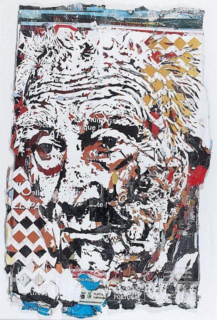 VHILS (Alexandre Farto dit) (né en 1987) MAYHEM SERIES 3, 2012 Affiches collectées dans la rue, découpées à la main et au laser