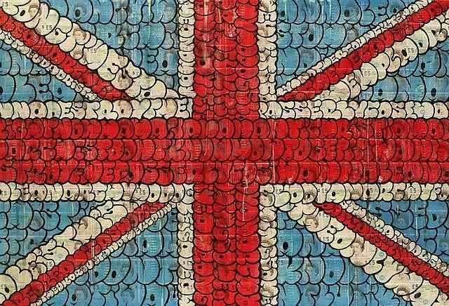TILT (né en 1973) ANARCHY IN THE UK, 2013 Peinture aérosol et acrylique sur billets de banque marouflés sur panneau de bois