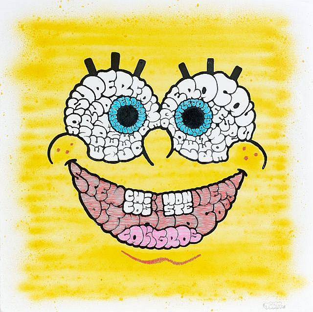 TILT (né en 1973) SANS TITRE (BOB L'EPONGE), 2011 Peinture aérosol, marqueur et gouache sur papier