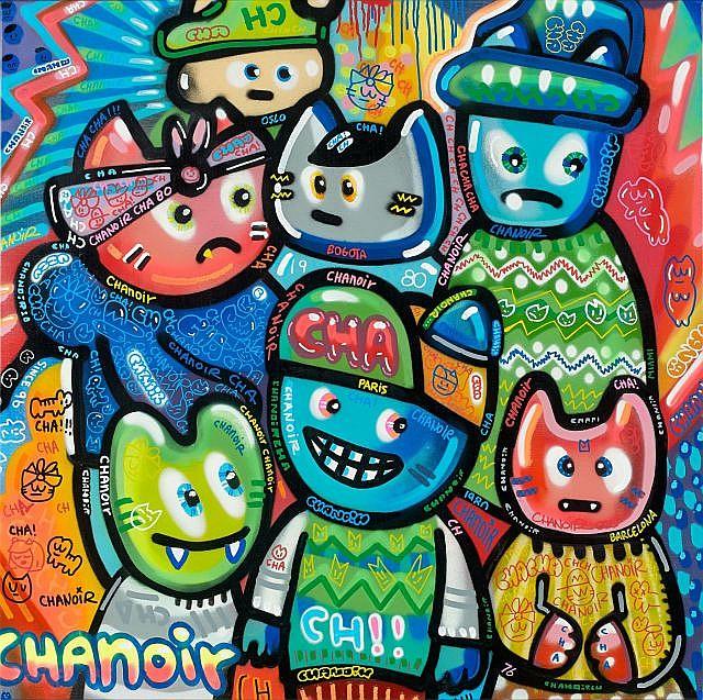 CHANOIR (né en 1976) BANDE DE CHA TAGGUE, 2012 Acrylique sur toile