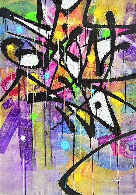 MIST (né en 1972) SECOND NAME, 2013 Acrylique et peinture aérosol sur toile