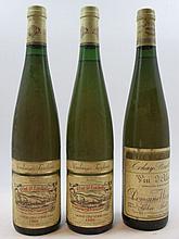 3 bouteilles 2 bts : ALSACE GEWURZTRAMINER 1989 Grand Cru Vorbourg. Vendanges Tardives. Clos Saint Landelin. Rene Mure (étiquettes abim