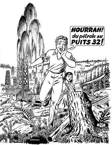 CRAENHALS François (1926 - 2004) RÉMY ET GHISLAINE Encre de Chine et rehauts de gouache blanche pour la couverture du n°10 du Journ...