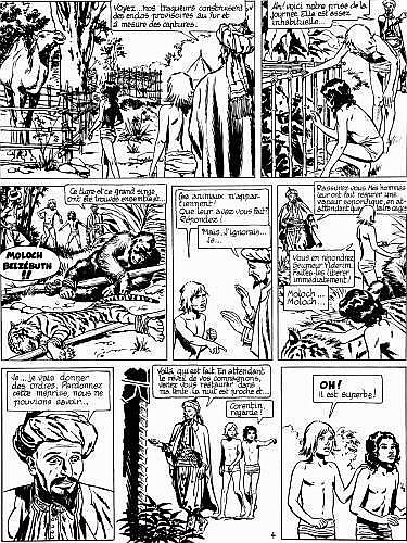 CUVELIER Paul (1923 - 1978) CORENTIN Encre de Chine pour la planche 4 de l'album «Le prince des sables»