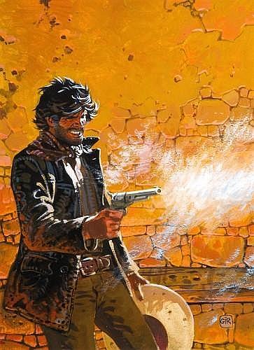 GIRAUD Jean (né en 1938) BLUEBERRY Gouache de couleur pour la couverture de l'album «La dernière carte»