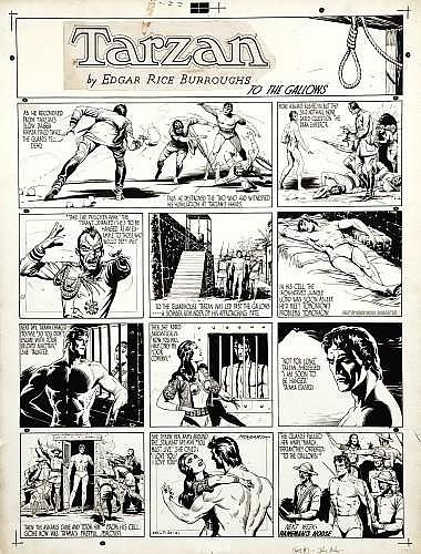 HOGARTH Burne (1911 - 1996) TARZAN Encre de Chine pour la planche Sunday en 4 strips et un bandeau de titre
