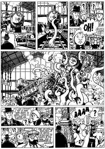 TARDI Jacques (né en 1946) ADèLE BLANC-SEC Encre de Chine pour la planche 39 de l'album «Le noyé à deux têtes»