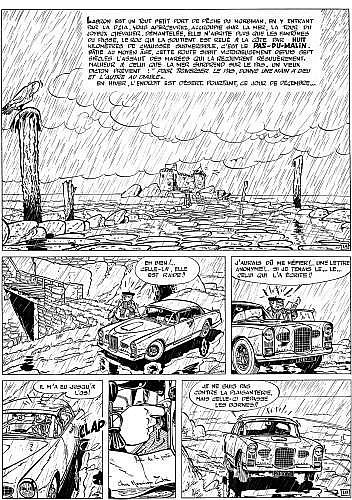 TILLIEUX Maurice (1921 - 1978) GIL JOURDAN Encre de Chine pour la planche 1 de l'album «La voiture immergée»