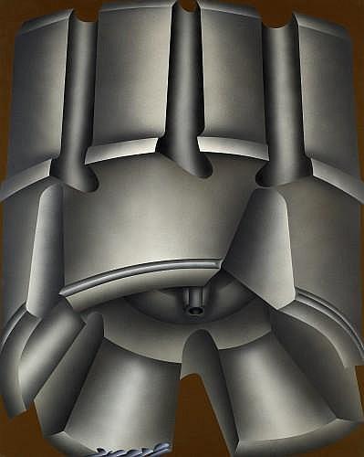 Jacques POLI (1938-2002) DEFROISSEUSE MARRON, 1973 Acrylique sur toile vinylique