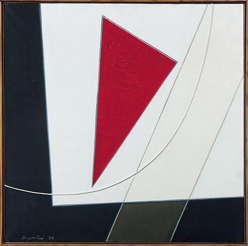 Silvano BOZZOLINI (né en 1911) EUCLIDE,1988 Huile et collage de ficelle sur toile