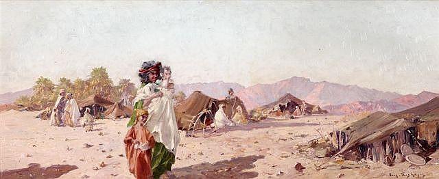 Eugène DESHAYES (1868 - 1939) Dans l'Oasis