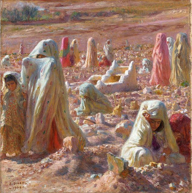 Etienne DINET (Paris, 1861 - Paris, 1929) Femmes arabes au cimetière