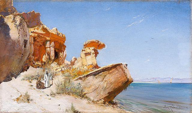 Max RABES (1868 - 1944) Temple de Sobek et Haroeris